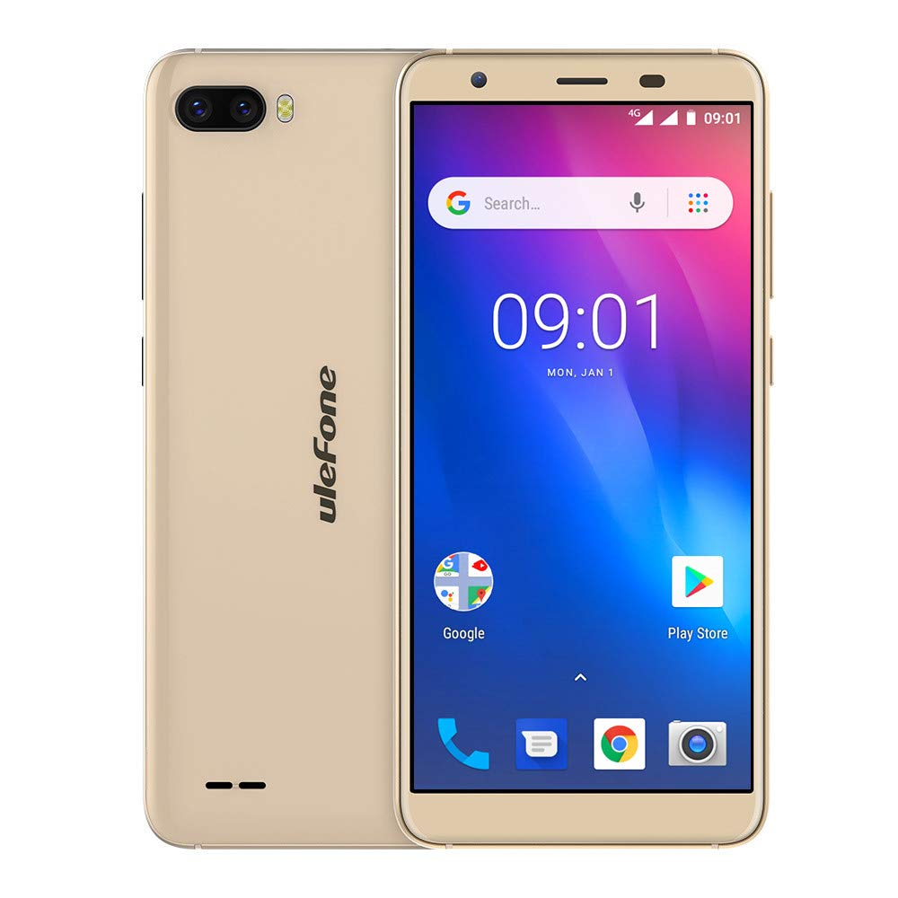 Gallity Ulefone S1 4G Smartphone Pro Mobile Phone 5.5 inch 18:9 MTK6739 Quad Core 1GB RAM 16GB ROM 13MP+5MP Face Unlock Android 8.1 (Gold)