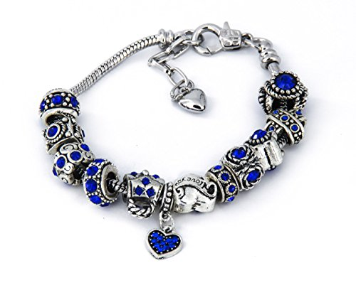 Yeshan 12pcs Antique Silver Crystal Rhinestone Birthstone Bead Charm Spacer with a Snake Chain Charm Bracelet Free, Blue