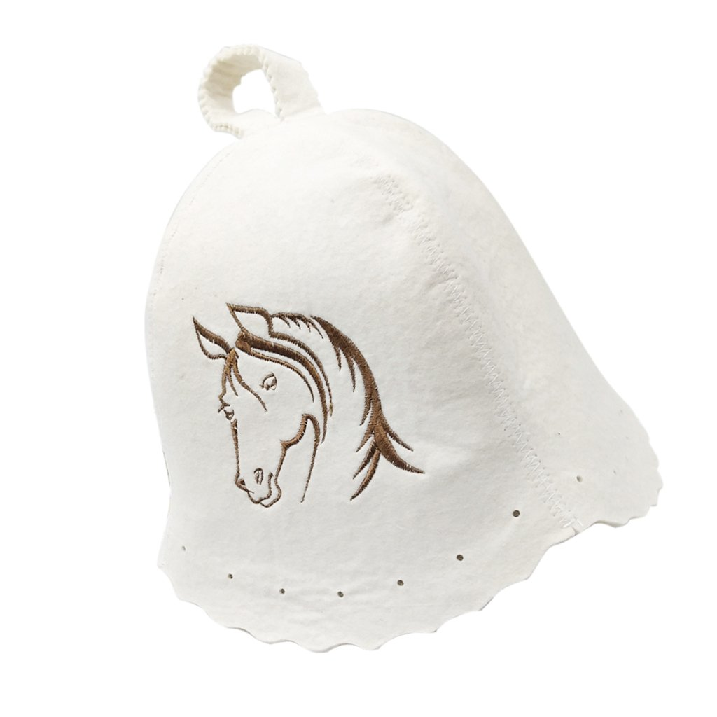 MagiDeal Wool Hat for Sauna Banya Bath House Head Protection Embroidered Unisex 12 Patterns - #5