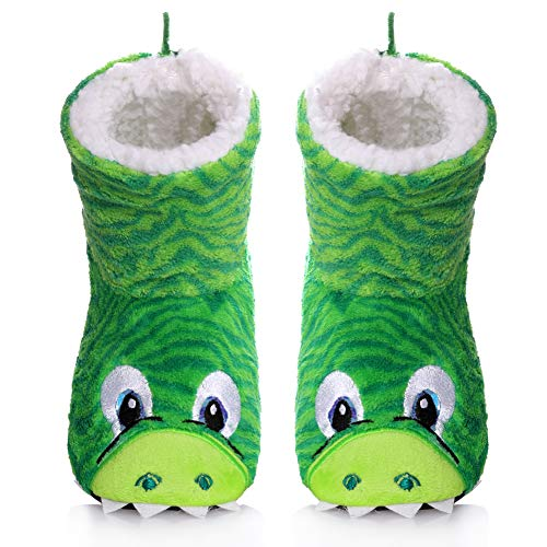 (SCOWAY Kids Girls Boys Christmas Cute Animal Slippers Soft Warm Plush Lining Non-Slip Home Shoes Winter Boot Socks (2-3 Year Old, Green))