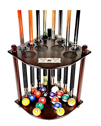 (Alek...Shop Rack Cue 8 Pool Stick Billiard Ball Finish Wall Stand Floor w/Scorer Mah Mahogany Wood, Holder Rack Cue Holes 4 Pads for Beverages)