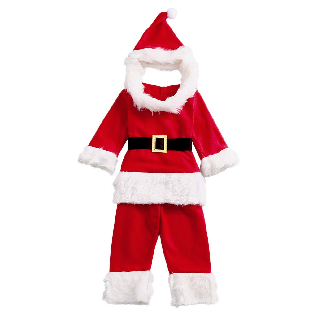 Zlolia Toddles Baby Boys Girls Santa Claus Costume Cosplay 4 Pieces (Long Sleeve Tops + Trousers + Hat with Beard+Belt) Red by Zlolia-Christmas