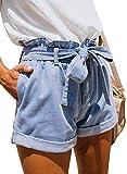 Sidefeel Women Paper Bag Waist Rolled Denim Jean Shorts Medium Light Blue