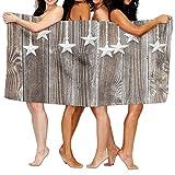 Haixia Colorful Bath Towel Beach/Bath/Pool Towel 51.2'' X 31.5'' Primitive Country Decor Silver Colored Ornate Stars On Wooden Rustic Fence Cabin Print Decorative Brown Silver