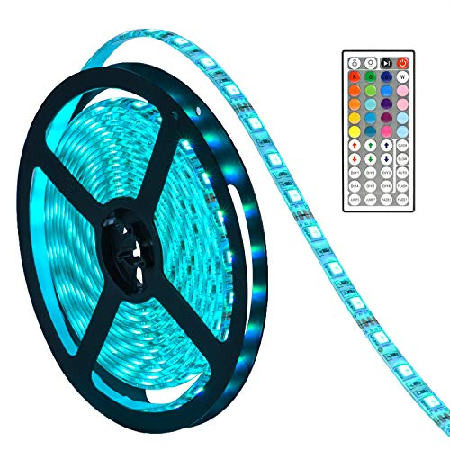 LED Lights Strip, SMD5050 Waterproof 16.4ft RGB Led Strip Lighting with 44 Key IR Remote Control LED Tape LED Rope Lights for Gardens/Homes/Kitchen/Cars/Bar (Alcohol Remote Control Car)