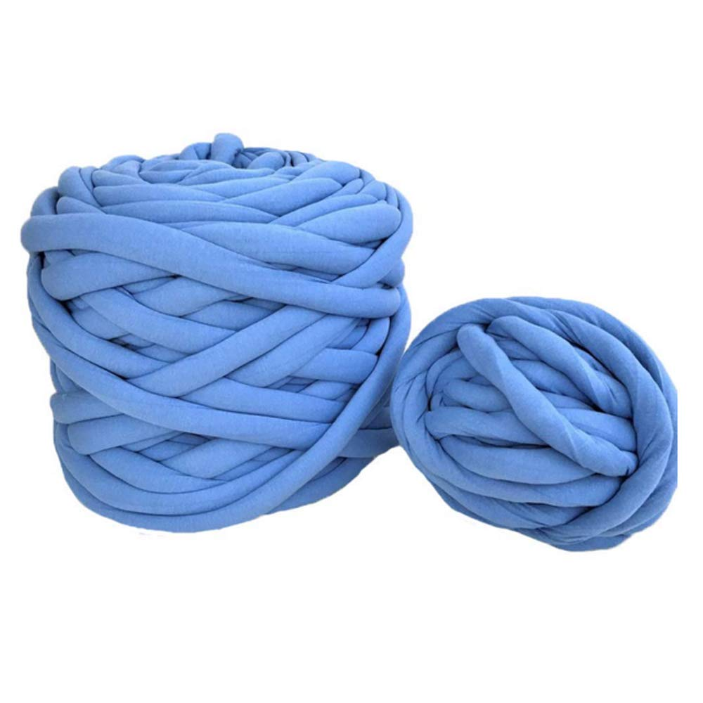 Super Chunky Yarn,Blue Cotton Braid Giant Yarn,DIY Roving Yarn,Cotton Tube Yarn,Blanket,Rug,Cat Bed,Carpet Materials,Machine Washable,4.4lbs/2kg