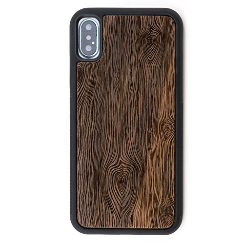 Intricate Wood - iPhone X/Xs Case - Extra Protective Real Wood Case Compatible with iPhone X/Xs with TPU Rubber Layer for Extra Protection - Intricate Laser Engraving, Eco-Friendly Design by Reveal Shop (Walnut, X