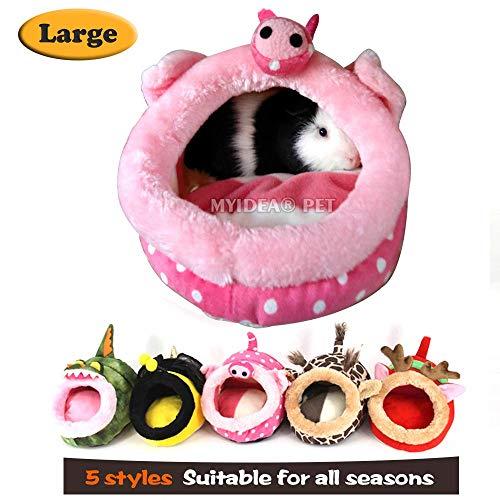 MYIDEA Guinea Pigs House - Hedgehog, Lizard Nest, Chinchillas Bedding Small pet Animals Cube, Habitat, Lightweight, Durable, Portable, Cushion Big Mat for Christmas (Small Pet - L, Pink Pig)