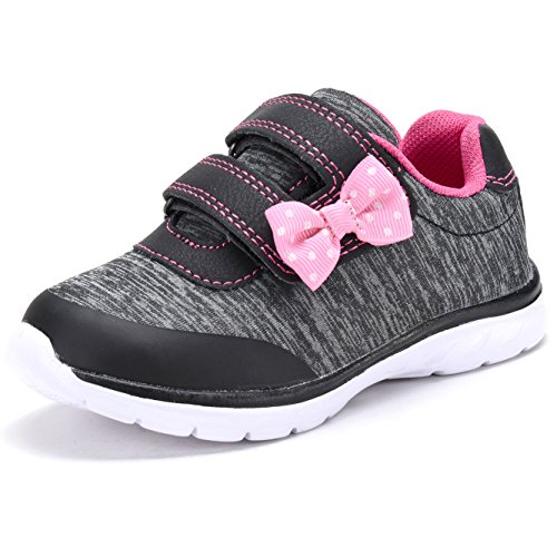 D.SEEK SC303 Toddler Fashion Sneakers Casual Velcro Strap Sport Shoes With Cute Bowknot BK/FU-10