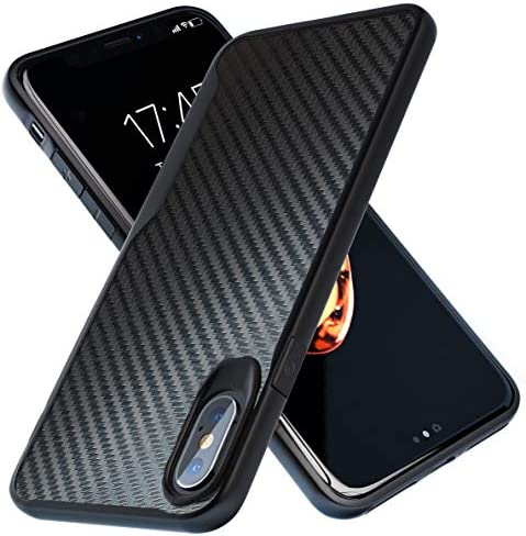 iPhone X Case | iPhone Xs Case | 10ft. Drop Tested | Carbon Case | Ultra Slim | Lightweight | Scratch Resistant | Wireless Charging | CompatibleApple iPhone X /iPhone Xs - Black