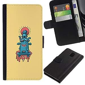 YiPhone /// Tirón de la caja Cartera de cuero con ranuras para tarjetas - Pulpo lindo Resumen - Samsung Galaxy Note 3 III