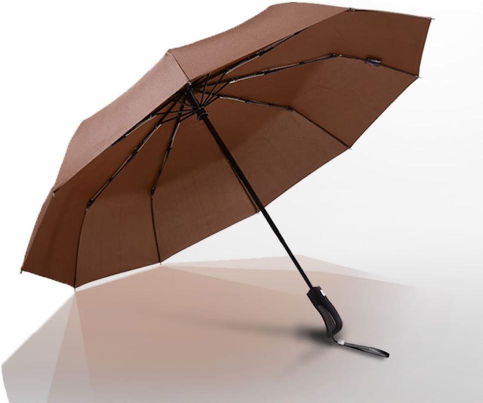 YTSZM Windproof Travel Umbrella with Teflon Coating,Auto Open Close Lightweight Sun/&Rain Umbrella with 10 Rib Construction Leather Pouch Color : Brown