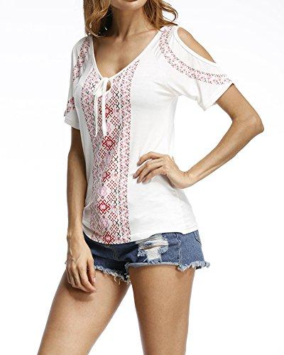 Nu Tunique Chemise Courtes Casual Blouse Manches Femmes T Blouse Blanc Top Shirt Epaule 86wnqfOS0