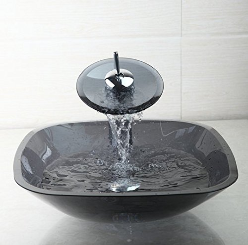 GOWE Luxury Washbasin Lavatory Tempered Glass Sink Basin +Waterfall Faucet+Pop Up Drain Combine Brass Mixer Taps 0