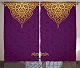Purple Decor Curtains by Ambesonne, Eastern Oriental Royal Palace Patterns with Bohemian Style Art Traditional Wedding Decor, Living Room Bedroom Decor, 2 Panel Set, 108W X 84L Inches, Purple Gold