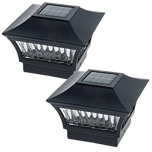 GreenLighting Black Aluminum Solar Post Cap Light 4x4 Wood & 6x6 PVC (2 Pack)