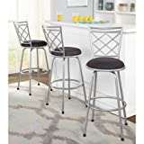 Avery Adjustable Metal Barstools, Silver, Set of 3