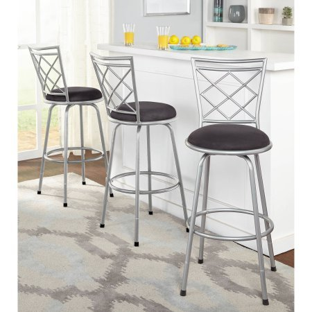 Avery Adjustable Metal Barstools, Silver, Set of - Banana Bar Leaf Stool