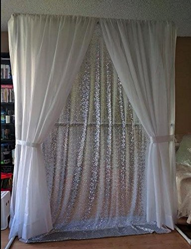 6FTx8FT-Silver-SEQUIN BACKDROP-Curtain-Sequin Photography Backdrop Shimmer Sequin Fabric For Event Decoration by ShinyBeauty