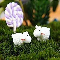 Saver Bricolaje adornos en miniatura ovejas blancas planta