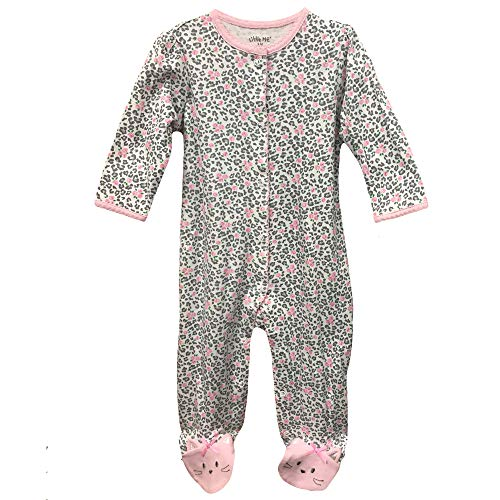 Little Me Baby Girls Footed Sleeper Cotton Pajamas Kitty Cat Footie Pink 3 Months ()