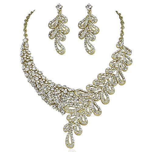 - Janefashions Elegant Floral Austrian Rhinestone Bridal Necklace Earrings Set Gold Tone N1786G (Gold)