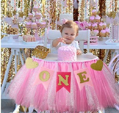 Kaptin 1st Birthday Baby Gold Pink Tutu Skirt and Banner for High Chair Decoration for Party Supplies
