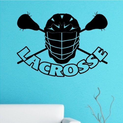 """Lacrosse Mask with Sticks Wall Decal Removable Lacrosse Wall Sticker 16"""" X 22"""""""