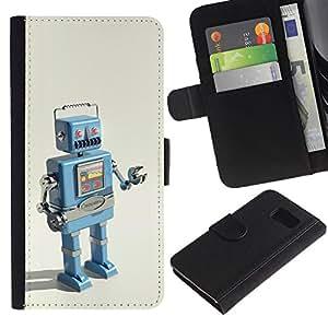 Samsung Galaxy S6 / SM-G920 , la tarjeta de Crédito Slots PU Funda de cuero Monedero caso cubierta de piel ( Robot Ai Technology It Machine Drawing)