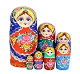 Youbedo 7pcs Blue Flower Madness Nesting Dolls Authentic Russian Wooden Matryoshka