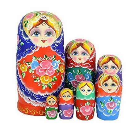 Youbedo 7pcs Blue Flower Madness Nesting Dolls Authentic Rus