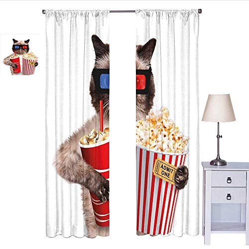 Movie Theater Decor Kitchen Curtain Cat with Popcorn and Drink Watching Movie Glasses Entertainment Cinema Drapes Panels Multicolor W72 x L108