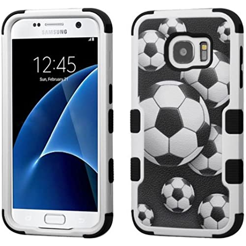 Galaxy S7 Case, Rock Me Wireless (TM) 2 items Bundle - 24K Gold Plating Sticker and Triple Layers Hybrid Protector Case Cover for Samsung Galaxy S7. (Soccer Ball Sales