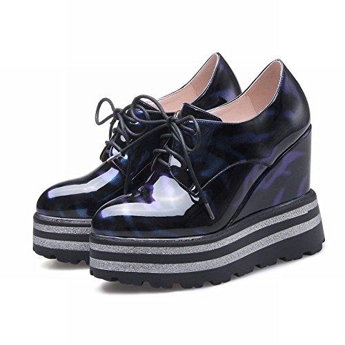 Latasa Womens Platform Wedges Oxford Shoes Blue (Main Color) GZ17S