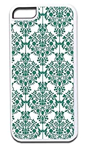 04-Floral Damask Pattern- Case for the APPLE IPHONE 5 ONLY!!! NOT COMPATIBLE WITH THE IPHONE 6 plus 5.5''!!!-Hard White Plastic Outer Case with Tough Black Rubber Lining