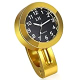"JewelryWe Creative Motorcycle Bike Handlebar Mount Clock Fit 7/8"" to 1"" Handlebar Luminous Watch (Gold)"