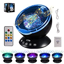 Ocean Wave Projector with Remote Control ALED LIGHT Night Light Projector with Built-in HD Music Player 7 Colors Changing Modes Night Lamp for Bedroom/Baby Nursery Room/Living Room (BLACK)