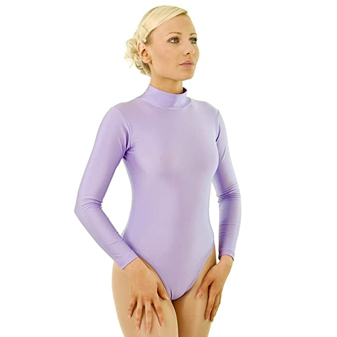 c09329ccce07 Dance Gear Zoe Women s Nylon Lycra Long Sleeved Polo-Neck Leotard ...