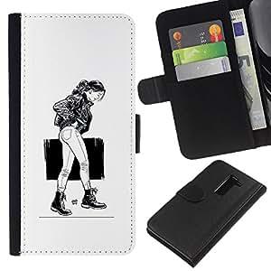 LECELL--Cuero de la tarjeta la carpeta del tirón Smartphone Slots Protección Holder For LG G2 D800 -- Chica Emo Sexy --