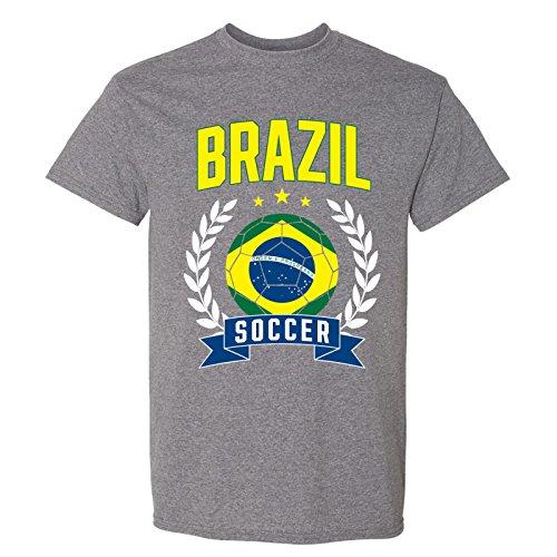 UGP Campus Apparel Brazil Soccer Laurel - 2018 World Football Cup T Shirt - 2X-Large - Graphite Heather