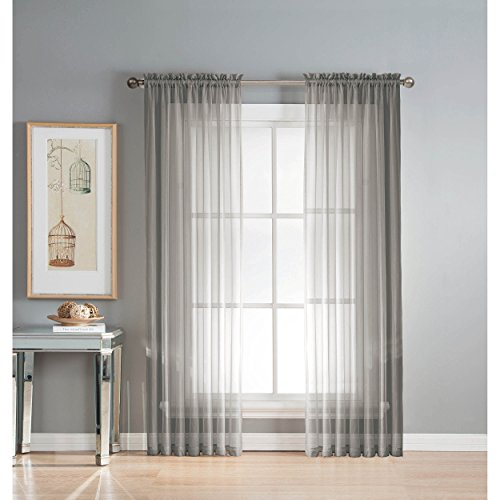 Window Elements Diamond Sheer Voile Extra Wide 112 x 84 in. Rod Pocket Curtain Panel Pair, Grey (Window Covering Ideas)
