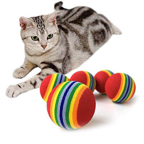 10pcs Pet Ball Toy Cats Dogs Chew Toys Tennis Ball Rainbow Bite Resistant Squeaky Training Toy