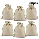 Lucky Monet 25/50/100PCS Burlap Gift Bags Wedding Hessian Jute Bags Linen Jewelry Pouches with Drawstring for Birthday, Party, Wedding Favors, Present, Art and DIY Craft (50Pcs, Cream, 7' x 9')