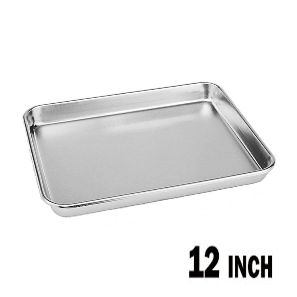 Neeshow Stainless Steel Compact Toaster Oven Pan Tray Ovenware Professional, 12.5'' x 9.75'' x 1'' , Heavy Duty & Healthy, Deep Edge, Superior Mirror Finish, Dishwasher Safe by NEESHOW (Image #1)