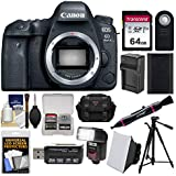 Canon EOS 6D Mark II Wi-Fi Digital SLR Camera Body with 64GB Card + Case + Flash + Battery & Charger + Tripod + Remote Kit