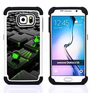 GIFT CHOICE / Defensor Cubierta de protección completa Flexible TPU Silicona + Duro PC Estuche protector Cáscara Funda Caso / Combo Case for Samsung Galaxy S6 SM-G920 // Abstract Green Black //