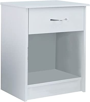 Giantex Night Stand Bedroom Stand Bedside Furniture Drawer Sturdy Storage (White)
