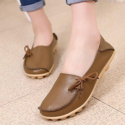 Lucksender Frauen Rindsleder Lace-Up Driving Schuhe Loafers Bootsschuhe Khaki