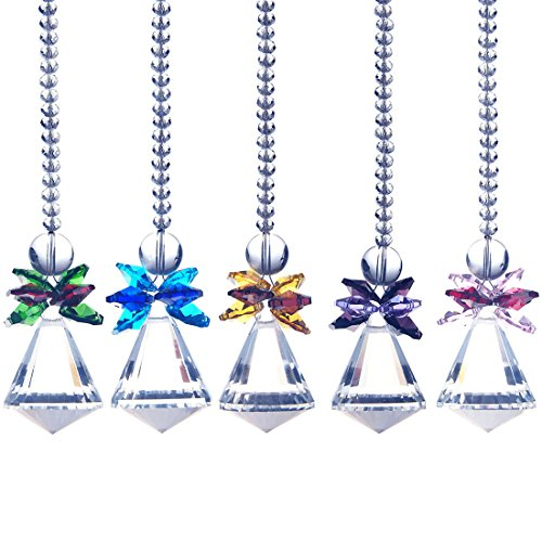 (H&D 5pcs Clear Crystal Diamond Shape Chandelier Decor Hanging Prism Suncatcher)