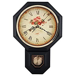 JUSTIME Vintage Rose Classic Traditional Schoolhouse Pendulum Wall Clock Chimes Every Hour With Westminster Melody Made in Taiwan, 4AA Batteries Included (PP0258-2F Matt Black)